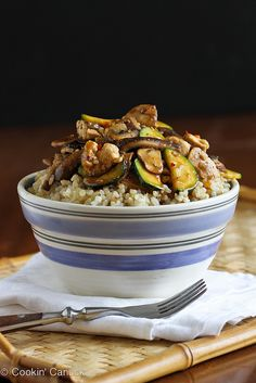 Chicken Hoisin Rice Bowl Recipe with Mushrooms & Zucchini | cookincanuck.com #chicken