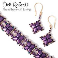 Nexus Bracelet and Earrings beaded pattern tutorial by Deb Roberti