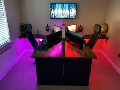 First-rate retro video game room decor exclusive on home like art decor Gaming Desk Setup, Computer Gaming Room, Computer Setup, Pc Setup, Gaming Rooms, Computer Room Decor, Gaming Desk For Couples, 2 Person Gaming Desk, Bedroom Gaming Setup