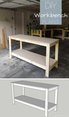 How to Build a Workbench & Build a DIY workbench for your garage or shop with plans from Bitterroot DIY . The post Build a Basic Workbench Kids Woodworking Projects, Woodworking Furniture, Diy Wood Projects, Diy Woodworking, Woodworking Classes, Woodworking Machinery, Popular Woodworking, Youtube Woodworking, Woodworking Equipment