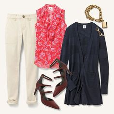 """Front Office Florals"". GET THE LOOK: The Hutton (sand dune), Classic Cardigan, Crush Top, Lock & Key Bracelet, Charles by Charles David 'Lena' Pump. My online store is open 24/7 for your shopping pleasure: jeanettemurphey.cabionline.com"
