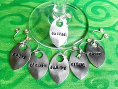 handstamped silver wine glass charms set of 6 ways to say Cheers. made in Ireland. by terramor on Etsy Wine Glass Charms, Hand Stamped, Charmed, Drop Earrings, Personalized Items, Unique Jewelry, Cheers, Handmade Gifts, Ireland