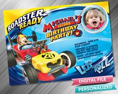 Mickey Roadster Racers Birthday Invitation