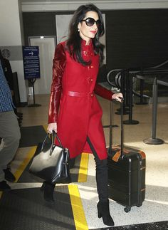 Amal Clooney Nails Jet-Setter Style in a Crimson Versace Coat  #InStyle