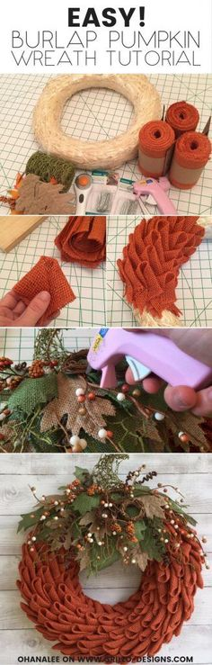 Learn how to create a burlap pumpkin wreath using the petal wreath making technique. This burlap wreath is perfect decor for fall or thanksgiving! Tutorial by Laura Darby from OHANALEE! / Grillo Designs www.grillo-designs.com