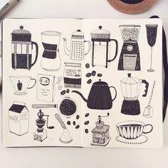 Instagram media by hee_cookingdiary - #coffee #sketchbook #moleskine #doodle #pen #micron #sakuraofamerica #creativebug #illustration #drawing