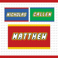 Building Block Party Custom Name Tags - 3 Colors / Printable / Party Decoration / Favor Tags Name Labels, Name Tags, Printable Tags, Block Party, Favor Tags, Party Printables, First Names, Digital Image, Party Themes
