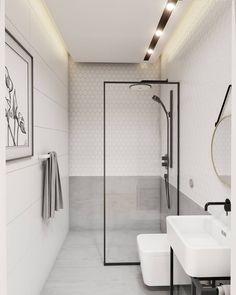 Dwie wersje dla małej łazienki mozaika- Raw Decor, obraz w ramce - Marta Płusa #smallbathroom #whiteinterior #minimalism #mosaic #rawdecor #plusamarta #roundmirror #goldsteel #blacksteel #małałazienka #białepłytki #mozaika #czarnabateria #led #walldecor #minimalizm #projektwnetrza #architektwnetrz #projectinterior #visualization #wizualizacje