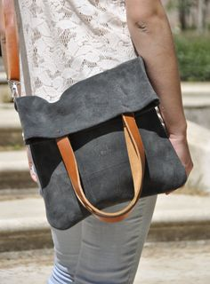 OFFER Leather bag grey leather bag woman bag door SANTIbagsandcases
