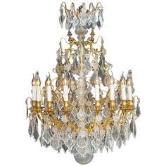18th Century Gilt Bronze Large French Crystal Chandelier | From a unique collection of antique and modern chandeliers and pendants at https://www.1stdibs.com/furniture/lighting/chandeliers-pendant-lights/