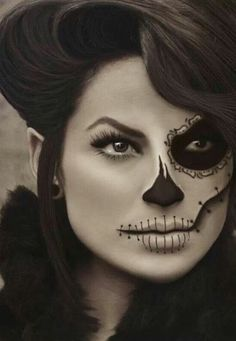 Halloween Half-Skull Face Paint/Make-Up.
