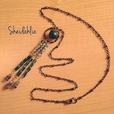 Bronze necklace green blue bronze Lapis Chrysocolla by SheiDahlia