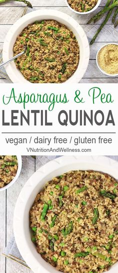 One-Pot Lentil Quinoa with Asparagus and Peas |  This One-Pot Lentil Quinoa is a tasty whole-foods dish using spring produce. It's a one-pot meal so there's not much cleanup  - it's a win-win! vegan, gluten-free, dairy-free, quinoa recipe   via @VNutritio