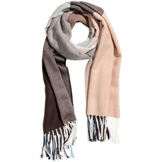Scarf $17.99 (1.015 RUB) ❤ liked on Polyvore featuring accessories, scarves, brown shawl, brown scarves, short scarves, light blue shawl and fringe scarves
