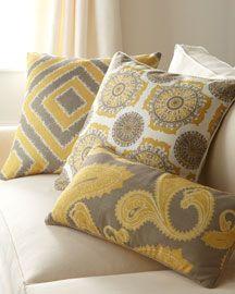 """Dijon Pillows"" (Grey, white, and mustard yellow decorative pillows)"