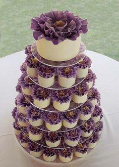 Purple wedding cupcake tower. #shopfesta