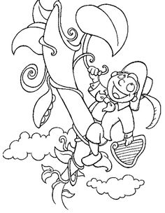 Jack and the beanstalk story coloring comprehension and for Jack and the beanstalk coloring page