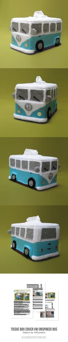 Tissue Box Cover VW (inspired) Bus Crochet Pattern for purchase