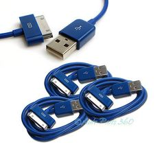 3X USB SYNC DATA POWER CHARGER CABLE APPLE IPAD IPHONE 4S 4 3GS IPOD TOUCH BLUE