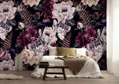 Dark Floral Wallpaper Removable Peel and Stick Self Adhesive Watercolor Large Flowers Wall Mural Decor for Bedroom Living Room Dark Floral Removable Peel and Stick Wallpaper Self Adhesive Flower Wallpaper, Pattern Wallpaper, Peel N Stick Wallpaper, Floral Bedroom, Bedroom Themes, Bedroom Decor, Large Flowers, Textured Walls, Wall Murals