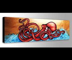 Items similar to Red Octopus Painting Octopus Painting, Octopus Wall Art, Red Octopus, Free Canvas, Canvas Art, Beach Canvas, Posca Art, Nautical Wall Art, Surf Decor