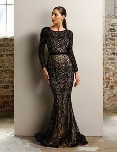 447b33105a8539 Jadore JX1003 Black   Nude Long Sleeve Sequin Mermaid Formal Dress