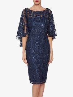 Buy Gina Bacconi Leilani Sequin Cape Sleeve Dress, Navy from our Women's Dresses range at John Lewis & Partners. Free Delivery on orders over Dress Brokat, Kebaya Dress, Simple Dresses, Elegant Dresses, Beautiful Dresses, Mother Of Bride Outfits, Mother Of Groom Dresses, Cape Sleeve Dress, Maxi Dress With Sleeves