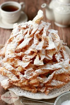 Babcine faworki przepis / brushwood / angel wings polish recipe - My WordPress Website Polish Desserts, Polish Recipes, Just Desserts, Dessert Recipes, Polish Food, Chrusciki Recipe, Café Chocolate, Sweet Pastries, Sweets Cake