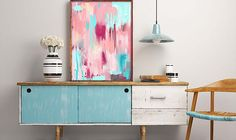 Wallart to suit all types of walls. Abstract bright wall print