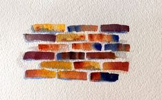 How to paint brick texture tutorial is demonstrated in this video. Start out with raw sienna, burnt sienna and ultramarine blue but you can use any leftover color that is in your palette. Use a 1 inch flat brush and add different colors to each side of the brush. This watercolor tip is demonstrated in the video.