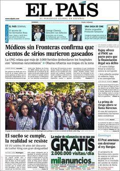 Los Titulares y Portadas de Noticias Destacadas Españolas del 25 de Agosto de 2013 del Diario El País ¿Que le pareció esta Portada de este Diario Español?