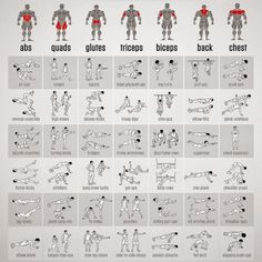 Full Bodyweight Exercises Chart - Healthy Fitness Workouts Plan - Easy Fitness Tips
