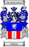 Stahlman Coat of Arms / Stahlman Family Crest  This Norwegian and Danish surname STAHLMAN was an occupational name for a foundry worker, one...