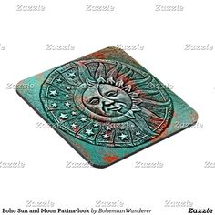 Boho Sun and Moon Patina-look Beverage Coaster #verdigris #patina #sunandmoon #gardenart #bohomoon