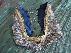 Turkish Vest- Golden-Blue-Underbust- Choli-Tribal Fusion, Belly Dance-Gypsy-Bohemian.