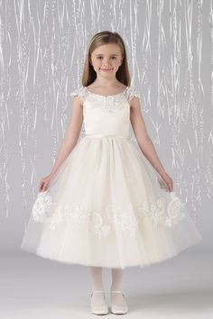 New Arrival Flower Girl Dresses A Line Scoop Tea Length Tulle USD 79.99 LDPR37G38P - LovingDresses.com