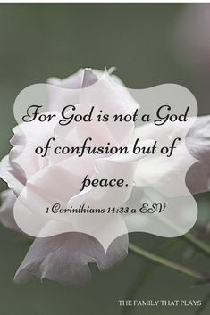 Monthly Theme, January For God is not a God of confusion but of peace.