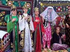 Tajik women in their traditional clothing in a ceremony ( Image: Sadaf Belal )