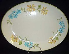 Franciscan Daisy Large Platter Earthenware Yellow Blue Flowers $9.95