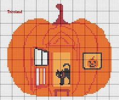 Pumpkin house cross stitch
