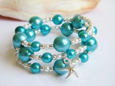 Starfish bracelet beach jewelry teal wrap by beachseacrafts, $12.99