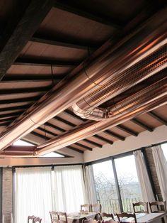 Impianto trattamento aria, zona sala ristorante e veranda, con tubazioni induttive in rame satinato (Grosseto)