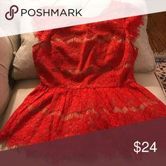 Anthropologie Maeve size small Lace peplum top red Beautiful, bright red, vibrant, perfect condition! Anthropologie Tops Blouses