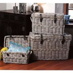 Our Set of 3 Rectangle Rattan Trunks in Kooboo Gray on Amazon!
