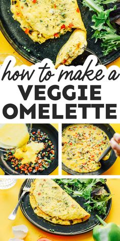 Learn how to make an omelette with this delicious, easy recipe. It's filled with the best fixings: onion, pepper, and cheddar cheese! It's a flavor packed healthy breakfast idea that the whole family will love! #breakfast #eggs #vegetarian #veggie #vegetables Gluten Free Recipes For Breakfast, Vegetarian Recipes Easy, Brunch Recipes, Dinner Recipes, Healthy Recipes, Make Ahead Breakfast Casserole, Free Breakfast, Breakfast Ideas, How To Make Omelette