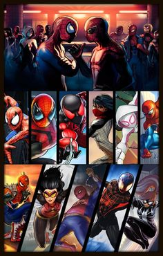All spideys from the NYC area lol seriously wanted more info coming soon for some spiderverse goodness by mcg_venom Hq Marvel, Marvel Dc Comics, Marvel Heroes, Silk Marvel, Comic Book Heroes, Comic Books Art, Comic Art, Iron Spider, Spider Gwen