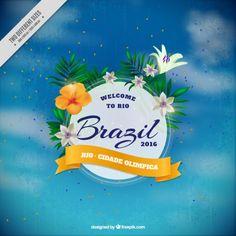 fundo do céu desfocado com emblema floral do Brasil Vetor grátis