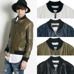 Remember Click Faux Leather Bomber Jacket BLACK NAVY KHAKIBROWN WHITE S M Korean #RememberClick #FlightBomber