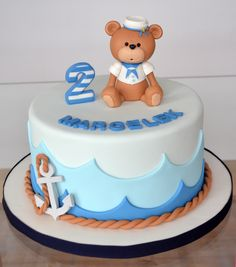 Nautical Teddy Cake - Cake by Agnieszka Baby Birthday Cakes, Baby Boy Cakes, Fancy Cakes, Cute Cakes, Fondant Cakes, Cupcake Cakes, Torta Baby Shower, Sea Cakes, Pink Cakes