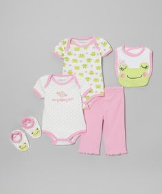 Pink & Lime Frog Bodysuit Set - Infant